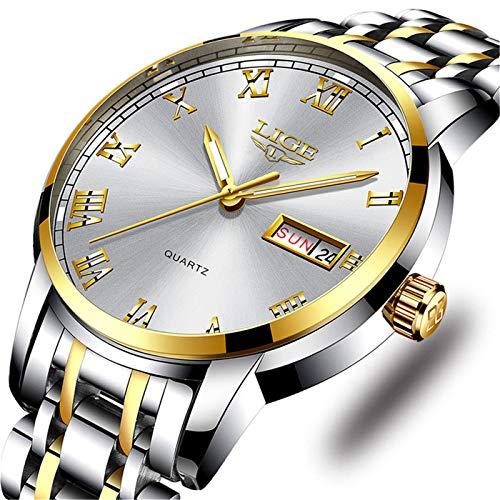 Mens Watches Fashion Simple Waterproof Quartz Sports Watch Stainless Steel Wrist Watch Auto Date Calendar Business Watch for ()