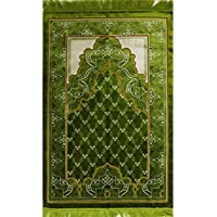 Islamic Prayer Rug - Plush Velvet Janamaz Muslim Namaz Seccade Turkish Prayer Mat Carpet Wide with FREE Cap Bright Green