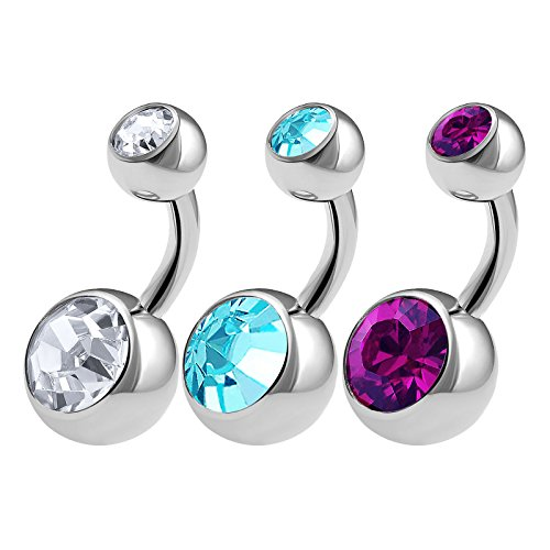 3PCS 316L Surgical Steel Shallow Belly Button Rings Studs 14 Gauge 1/4 6mm Clear Aquamarine Amethyst Short Navel Bars 0623