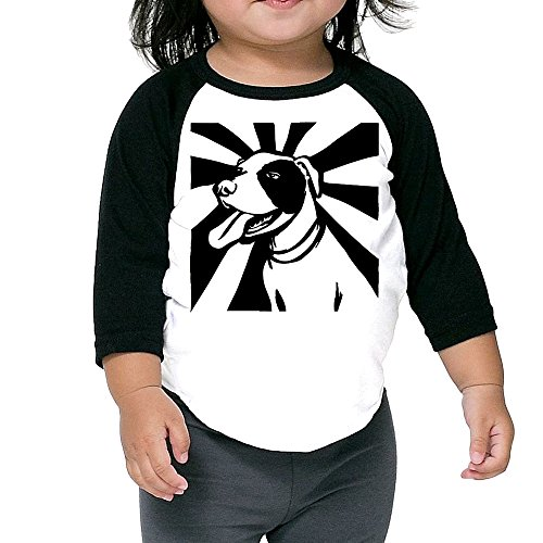 ALIPAPA Kids Boy's & Girl's Happy Pitbull 3/4 Sleeve Raglan Tshirt Size 5-6 Toddler (Advance Wars Shirt)