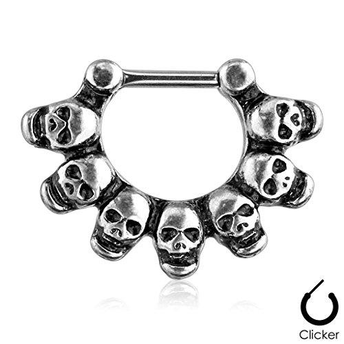Brushed Linked Skulls Surgical Steel 16GA Septum Clicker Ring Silver Tone