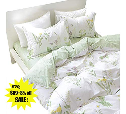 FADFAY Duvet Cover Set Full Shabby Green Daisy and Lavender Flowers 100% Cotton with Hidden Zipper Closure 3-Piece:1duvet Cover & 2pillowcases Full Size