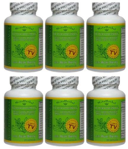 Superfood Max avec Acai Berry Diet Foods & 13 Autres: Diet Pill Weight Loss & Herbal Formula détoxifier - Anti-Aging Supplément - 6 Bouteilles (180 Capsules)