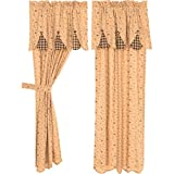 VHC Brands Natural Tan Primitive Classic Country Curtains Maisie Lined Short Panel Pair, Grey
