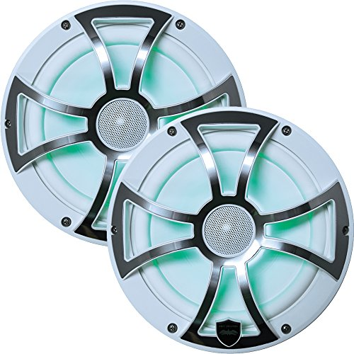 Wet Sounds REVO 8-XSW-SS White XS/Stainless Overlay Grill 8 Inch Marine LED Coaxial Speakers (Pair) (Renewed)