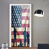 Niasjnfu Chen custom made 3d door stickers Soldiers in Assault on Grunge Usa Flag. American Army Military Concept. Fabric Home Decor For Room Decor 30x79