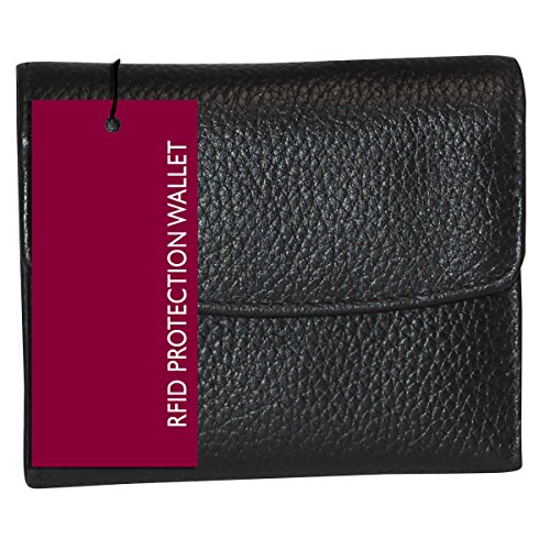 Buxton Womens Leather Mini Tri-fold Wallet (Black-RFID Protected) ()