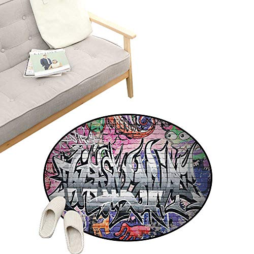 Brick Wall Non-Slip Round Rug ,Graffiti Grunge Art Wall Several Creepy Underground City Urban Landscape Print, Washable Living Room Bedroom Kids 39