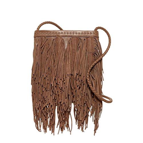 Sam Edelman Womens Jane Leather Fringe Crossbody Handbag Tan Medium