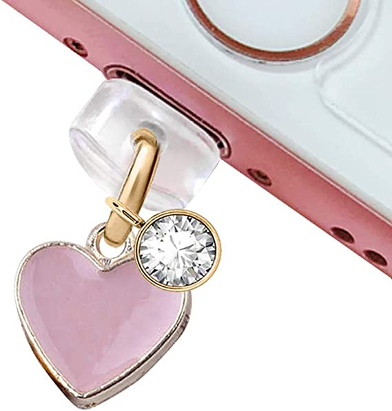 Ip597 Cute Purple Heart Bow Anti Dust Plug Cover Charm for Iphone 4 4s Galaxy