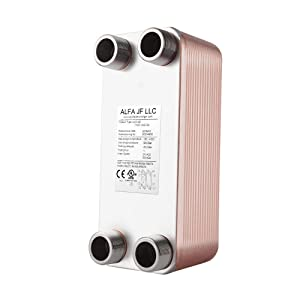 """Brazed Plate Heat Exchanger Copper/SS316L 3""""x8"""" 10-40 Plates 3/4"""" MPT Floor Heating, Water Heating, Snow Melting (BL14-16D)"""
