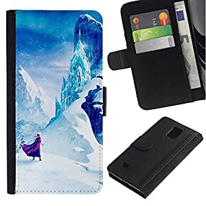 Paccase / Billetera de Cuero Caso del tirón Titular de la tarjeta Carcasa Funda para - Mountain Fairytale Kids Children'S - Samsung Galaxy Note 4 SM-N910