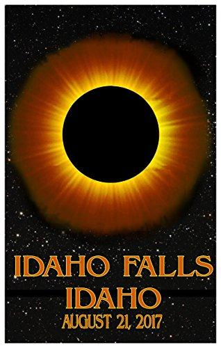Idaho Falls Idaho Solar Eclipse Giclee Travel Art Poster (24 x 36 inch) Art Print for Bedroom, Family Room, Kitchen, Dorm Room or Office Wall - Falls Idaho Mall