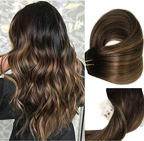 Clip In Human Hair Extensions Thicken Double Weft 9A Brazilian Hair 120g 7pcs Natural Black to Chestnut Brown Highlight Black Full Head Silky Straight 100% Human Hair Clip In Extensions 18 Inch ()