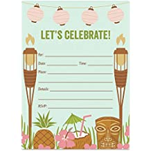 25 Luau Tiki Invitations with Envelopes (Pack of 25) Fill In Summer Party Invites, BBQ, Cookout, Rehearsal Dinner, Baby Shower, Graduation, Birthday Party Excellent Value VI0021B