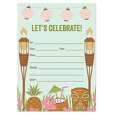 amazon com digibuddha luau party invitations with envelopes pack