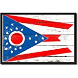 Ohio State State Flag Canvas Print, Black Picture Frame Gift Ideas Home Decor Wall Art Decoration