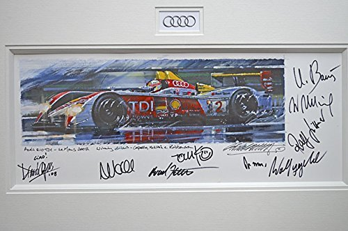 (LeMans Supremo 2008 Audi Car Painting #2 By Nicholas Watts - Autographed By 9 Audi Personalities & Drivers)