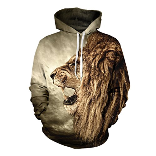Urmycos Lion Printed Couples Hoodies His and Hers Hooded Pullover Sweatshirt XXXL by Urmycos