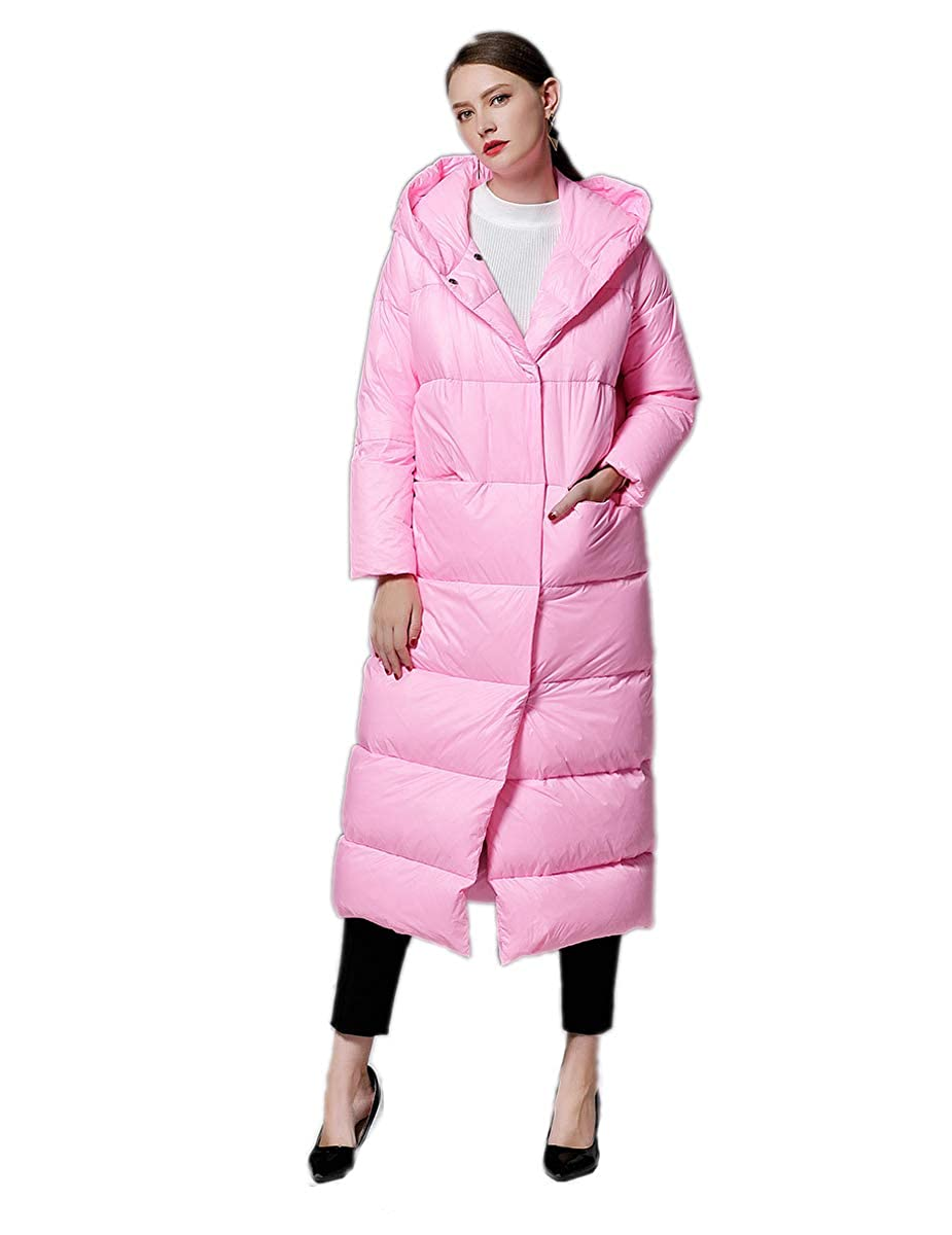 Red Ursfashion Women Winter Warm Maxi Long Down Jacket 2018 Simple Model Thick Coat