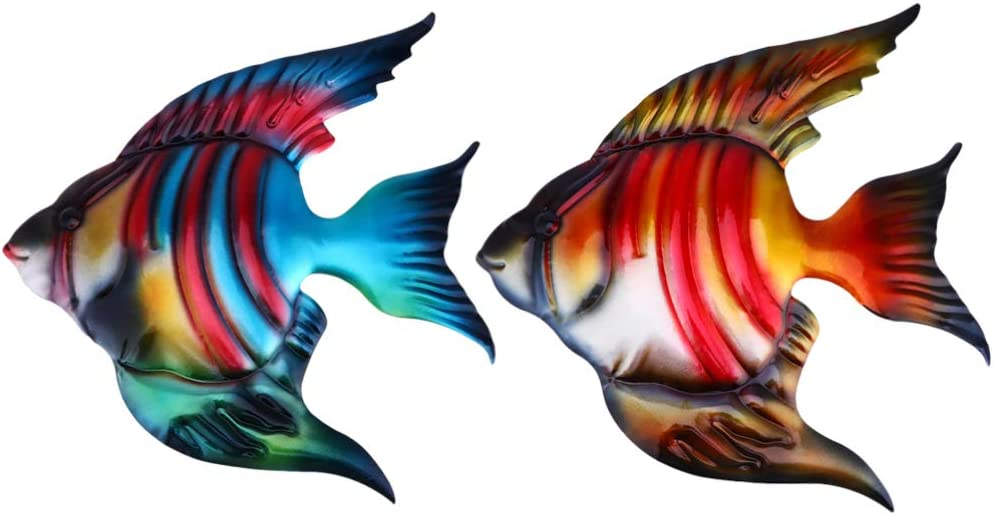 Happyyami 2PCS Metal Fish Wall Decor Tropical Fish Figurine Outdoor Sea Animal Art Metal Wall Sculpture Coastal Seaside Hanging Decorations for Pool Patio
