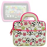 Evecase LeapFrog Epic/ LeapPad Platinum/ LeapPad Ultra XDI 7'' Kids Tablet Sleeve Case, Happy Farm Cow Themed Neoprene Travel Carrying Slim Bag w/ Dual Handle and Accessory Pocket - White w/ Pink Trim