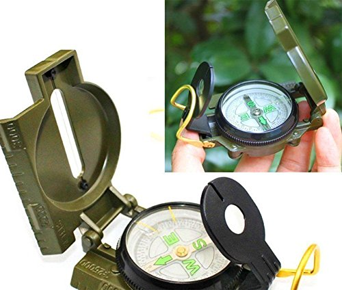 Military Lensatic Compass Professional Army Pocket Compass Metal Sighting Compass with Foldable Metal Lid for Camping Climbing Biking (Army Green)