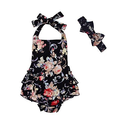 Color Shoes Black Pants - Funic Newborn Infant Baby Girl Floral Print Romper Jumpsuit Headband Outfits Clothes Set 3-18 Months (3 Months, Purple)