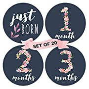 Floral Baby Monthly Milestone Stickers (Set of 20) - Birth to 12 Months + 7 Bonus Achievement Stickers