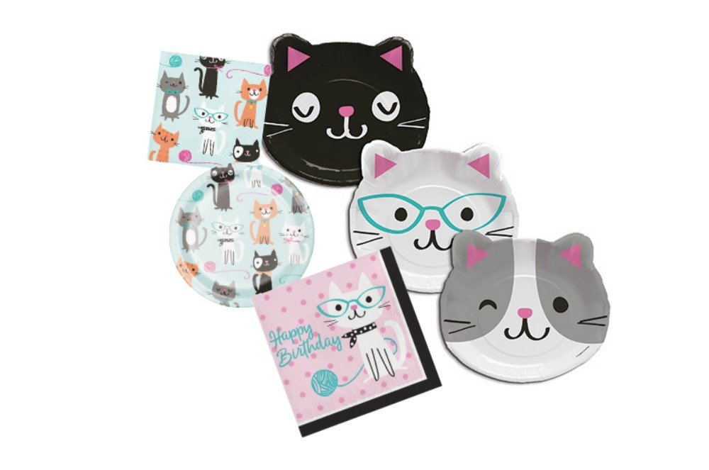 Cat Themed Dessert and Lunch Plates, and Lunch and Beverage Napkins Bundle - Paper Goods by Bountiful Bin