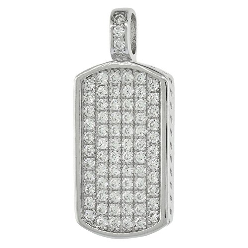 Dinty Sterling Silver Cubic Zirconia Dog Tag Pendant Micro Pave 3/4 inch tall