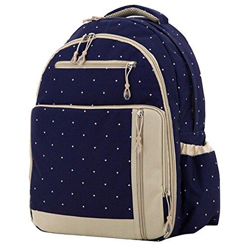 Aivtalk Bolso Maternal Mochila Multifunción Cambiador de Pañales Backpack para Carro Carrito de Bebé Biberón Botella Comida Viaje 30cm(L) x 19cm(W) x 41cm(H) - Floral Lunares Azul Oscuro Lunares