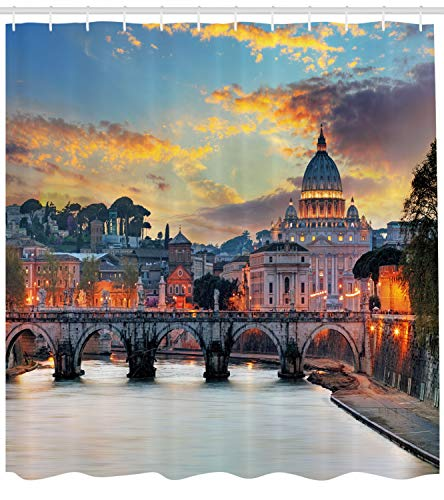 Ambesonne Italy Shower Curtain, Vatican Rome View in The Evening Landmark Travel Italian Destination Image Print, Cloth Fabric Bathroom Decor Set with Hooks, 70