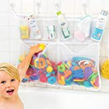 The Really Big Tub Cubby Bath Toy Organizer & Caddy – 6X Soap & Shampoo Pockets - Quick Dry Bathtub Storage Net - 6X Lock Tight Suction Hooks & 3M Stickers - Sure Not to Fall.