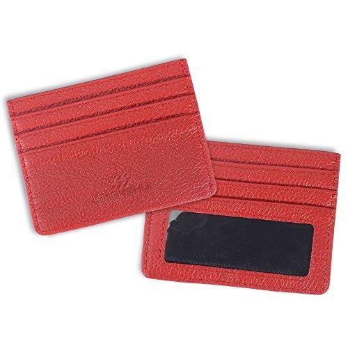 Ultra flaches Kreditkartenetui echtes Leder Kartenbörse mit RFID Schutz SHANSHUI Kartenmappen Kartenbeutel 6 Kartenfächer in Blau Rot-RFID J95CW