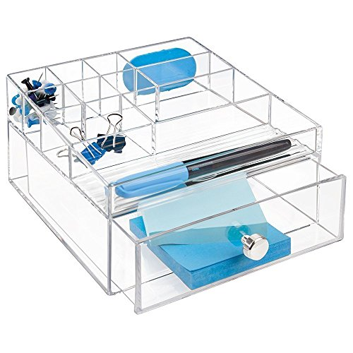 mDesign Office Supplies Desk Drawer Organizer for Scissors, Pens, Highlighters, Notepads, Tape - 1 Drawer, Divided, Clear