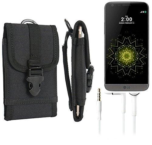 bolsa del cinturón / funda para LG Electronics G5 SE, negro + Auriculares   caja del teléfono cubierta protectora bolso - K-S-Trade (TM)