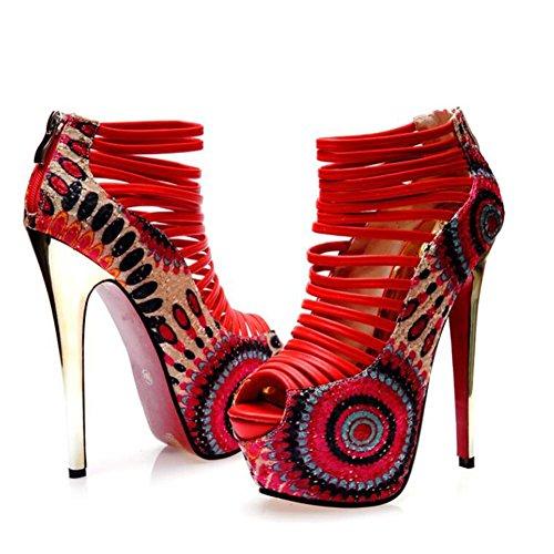 L@YC® Mujer Discoteca Tacones altos Damas 16 Cm Cabeza De Pescado Sandalias Primavera Y Verano Multa Con La Tabla Impermeable Vestido De La Bomba Red