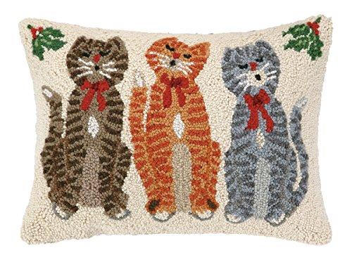 Hook Wool Blend - Peking Handicraft Caroling Cat Trio Hook Wool Throw Pillow