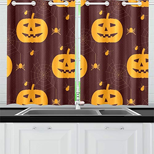 ENEVOTX Halloween Silhouettes Spiders Kitchen Curtains Window Curtain