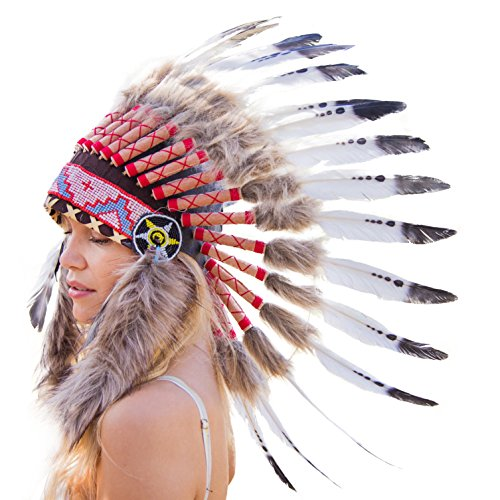 Novum Crafts Feather Headdress | Native American Indian Inspired | White Tips (Feathered Headdress)