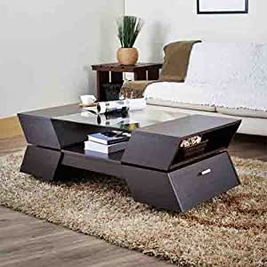 Ultra Modern Matias Design Coffee Table Espresso Finish Wood And Glass Tabletop