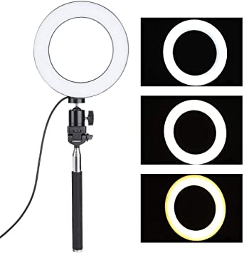 6 inch Professional Photography Accessory Kit USB LED Ring Lamp 3200K//5500K Dimmable Fill Light