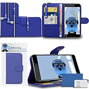 iTALKonline OnePlus X OnePlusX Blue PU Leather Executive Multi-Function Wallet Case Cover Organiser Flip with Credit / Business Card Money Holder Integrated Horizontal Viewing Stand, LCD Screen Protector, Headphone mount 3.5mm Retractable Mini Stylus Pen and 3.5mm Stereo Hands Free HeadPhones with Mic
