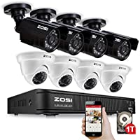 ZOSI 8CH CCTV System Kit 720P AHD Security DVR 8PCS 720P(1280TVL) Weatherproof CMOS Cameras 65ft(20m) Night Vision Surveillance System 1TB HDD Built-in