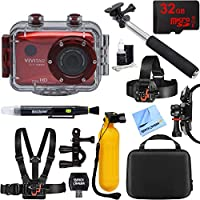 Vivitar HD Action Waterproof Camera/Camcorder Red + 32GB...