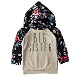1-5T Toddler BIG SISTER Hoodie Tops Hooded Sweatshirt Long Sleeve Floral Hoodies