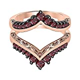 tusakha 1.04ctw Red Garnet 14k Rose Gold Plated Chevron Style Ring Wrap Jacket