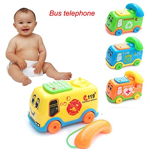Coohole New Baby Toys Music Cartoon Bus Phone Educational IQ Developmental Kids Toy Gift (Multicolor)