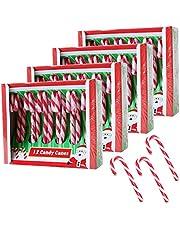 Becky´s 4 x 12 suikerstokjes - Candy Canes - aardbeismaak, rood wit - 48 stuks, elk 12 g